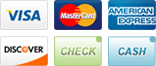 Visa, MasterCard, American Express, Discover, Check and Cash.